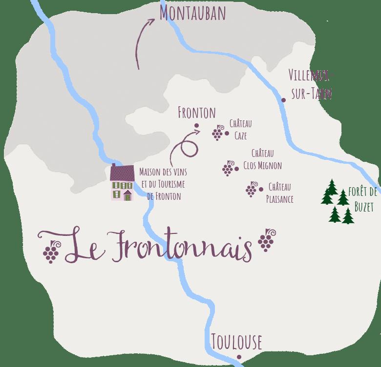 carte route des vins Fronton Haute-Garonne