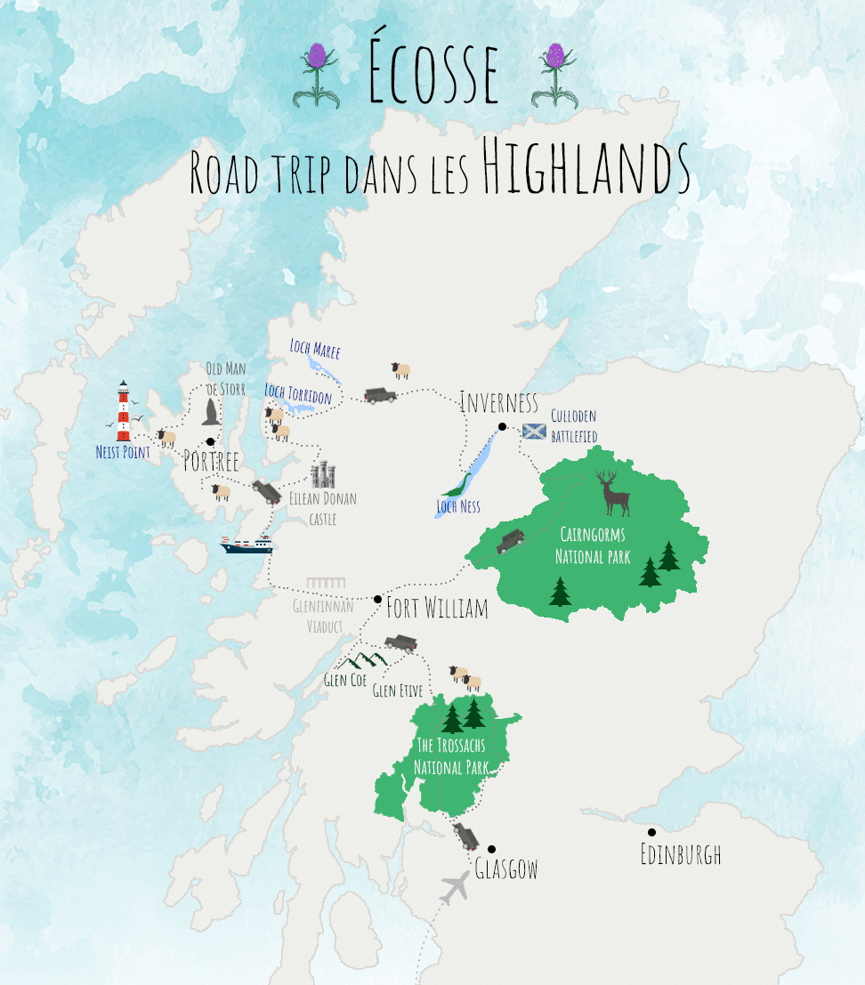 carte roadtrip ecosse higlands