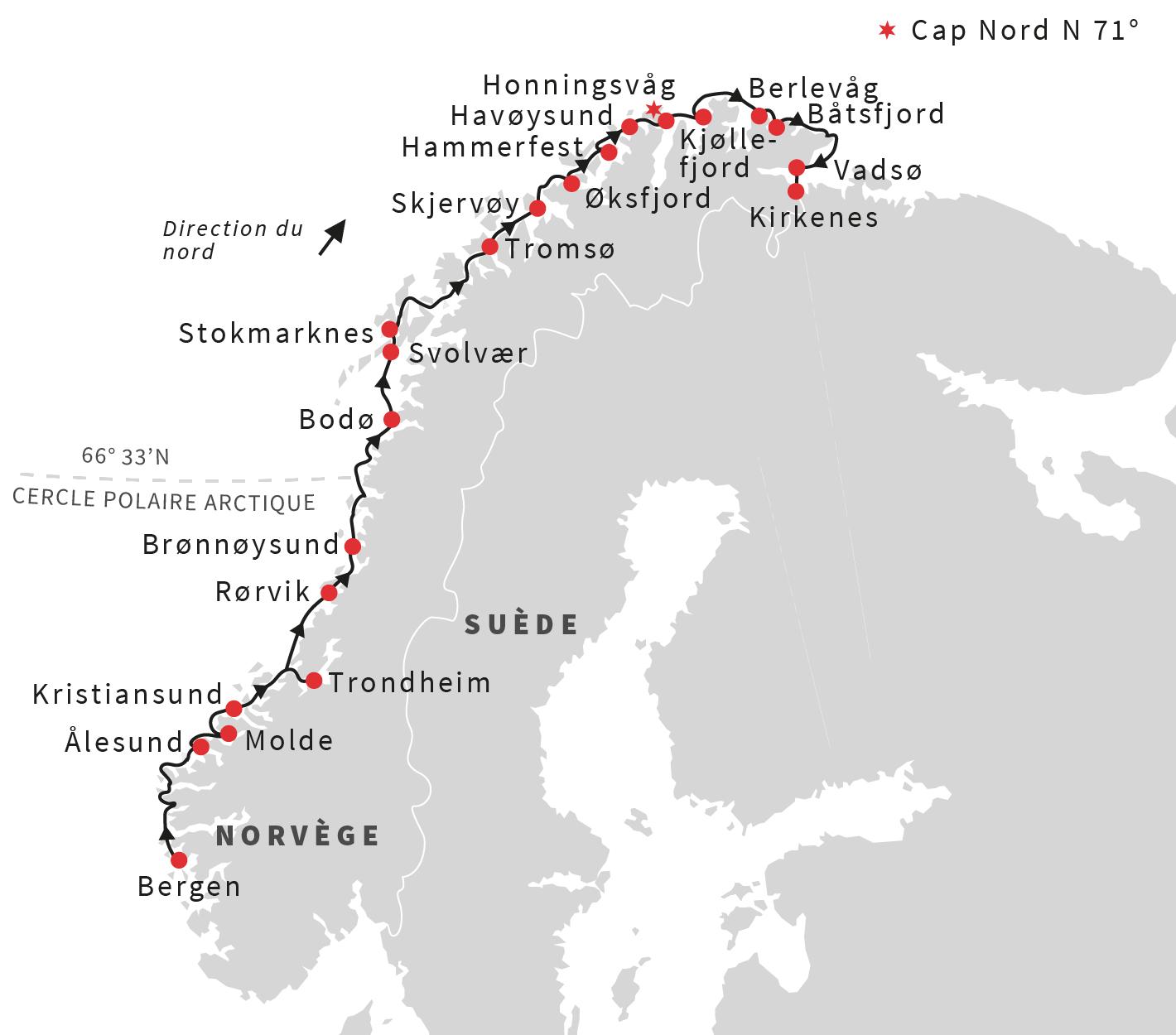 carte croisière fjords norvege hurtigruten