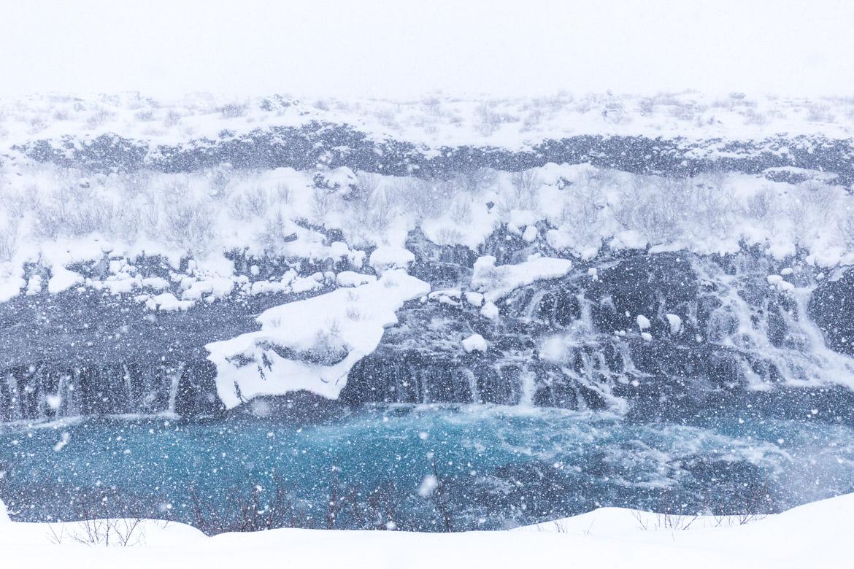 road trip hivernal en islande hraunfossar